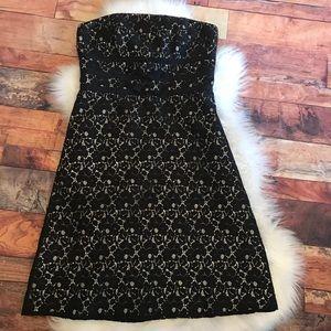 White House Black Market Black Lace Dress Size 6